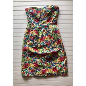 Anthropologie strapless floral dress - Sz 6